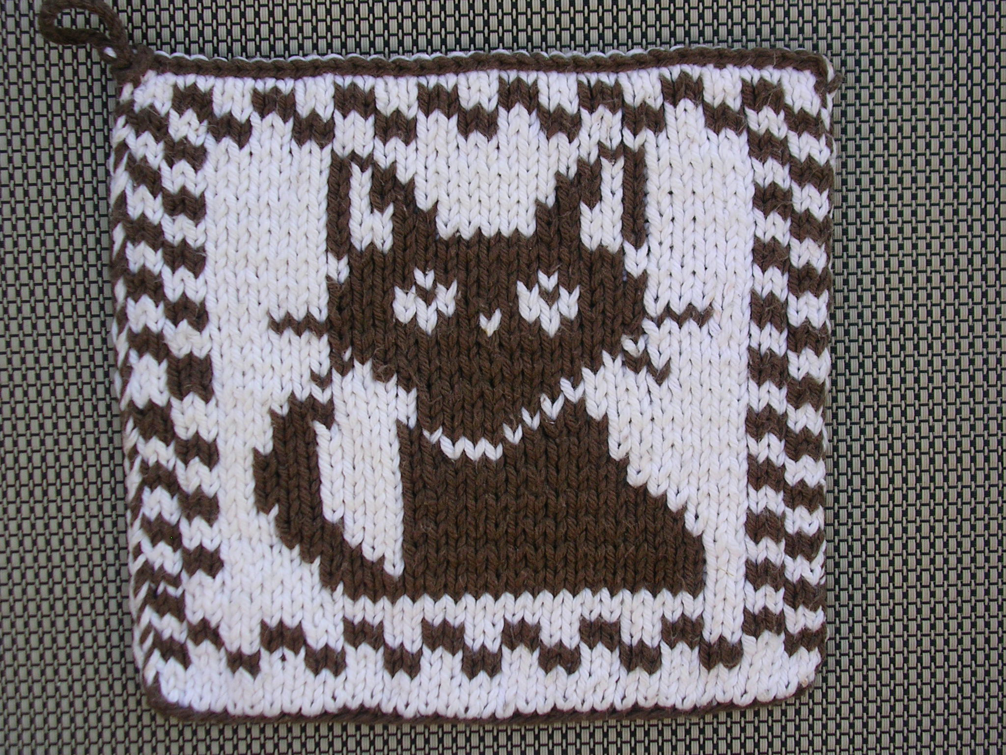Pot Holder Knitting Pattern : Cat Pot Holder double knit sg-creations