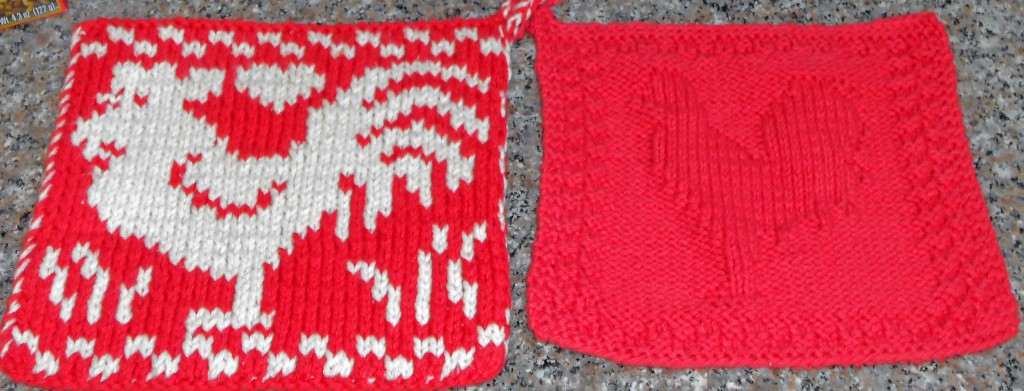 Rooster double knit potholder compared to earlier dishcloth with contrasting stitches to outline a rooster.