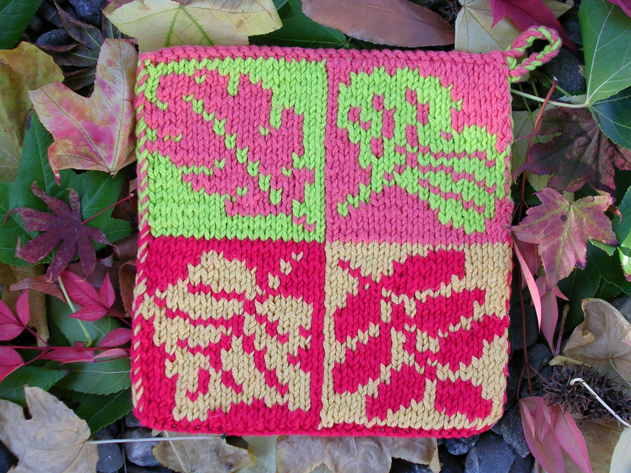 Pot Leaf Knitting Pattern : Fall Leaves Pot Holder sg-creations